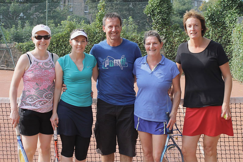 Finals Day 2014, ladies' doubles (l to r): Mary, Catriona, Fiona and Shelley with chair umpire Mark