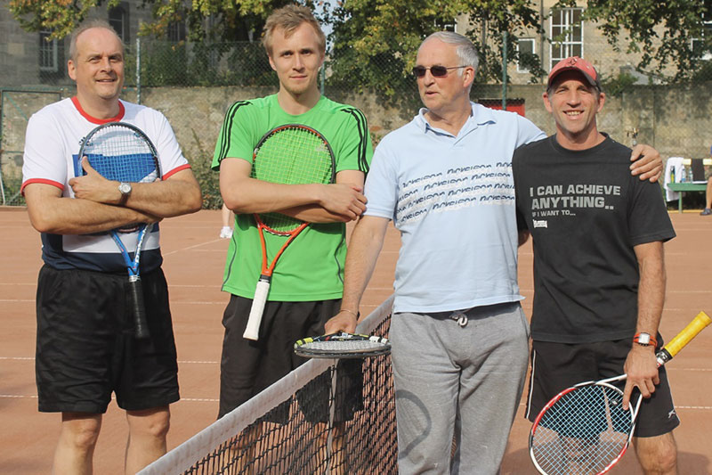 Men's doubles finalists (l to r) Hugh, Hughie, Dave and Dom